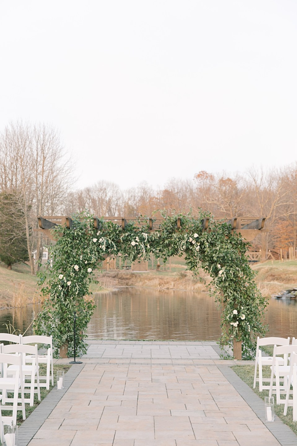 greenery wedding ceremony arch | from peonies to paint chips | sarah canning photography