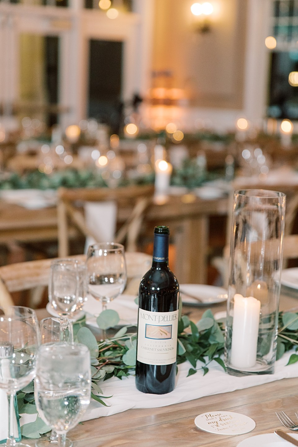 wine bottles on wedding tables | new jersey wedding photographer sarah canning photography