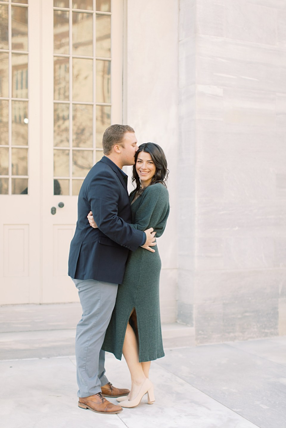 Couple at Merchant's Exchange Building | Engagement Photos