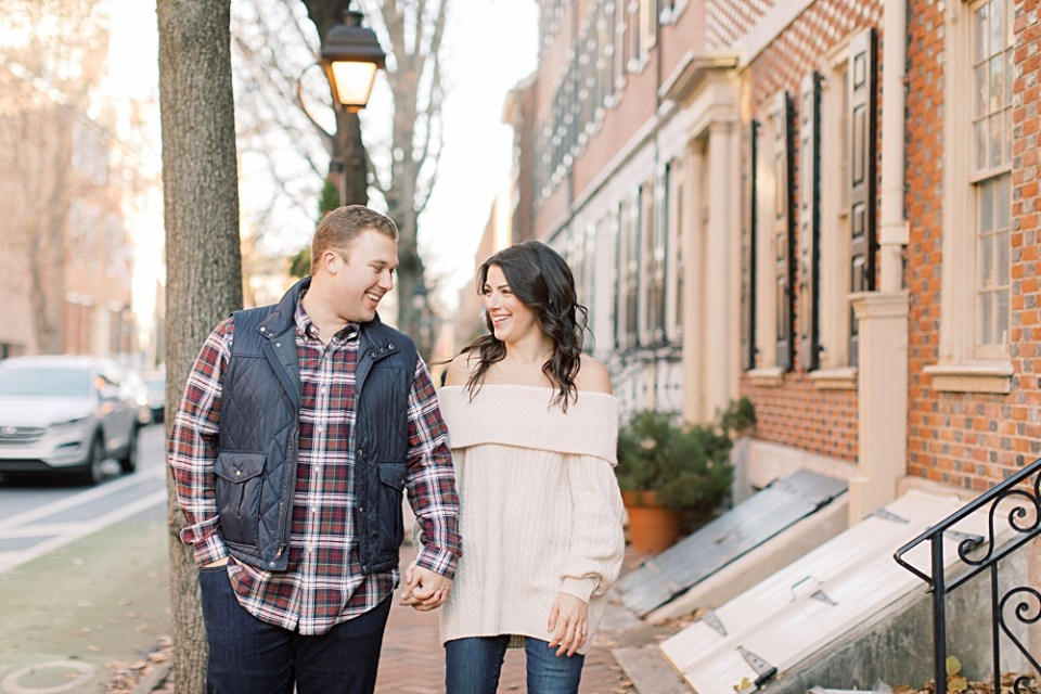 Couple walking around Old City, Philadelphia | Philly based Sarah Canning Photography