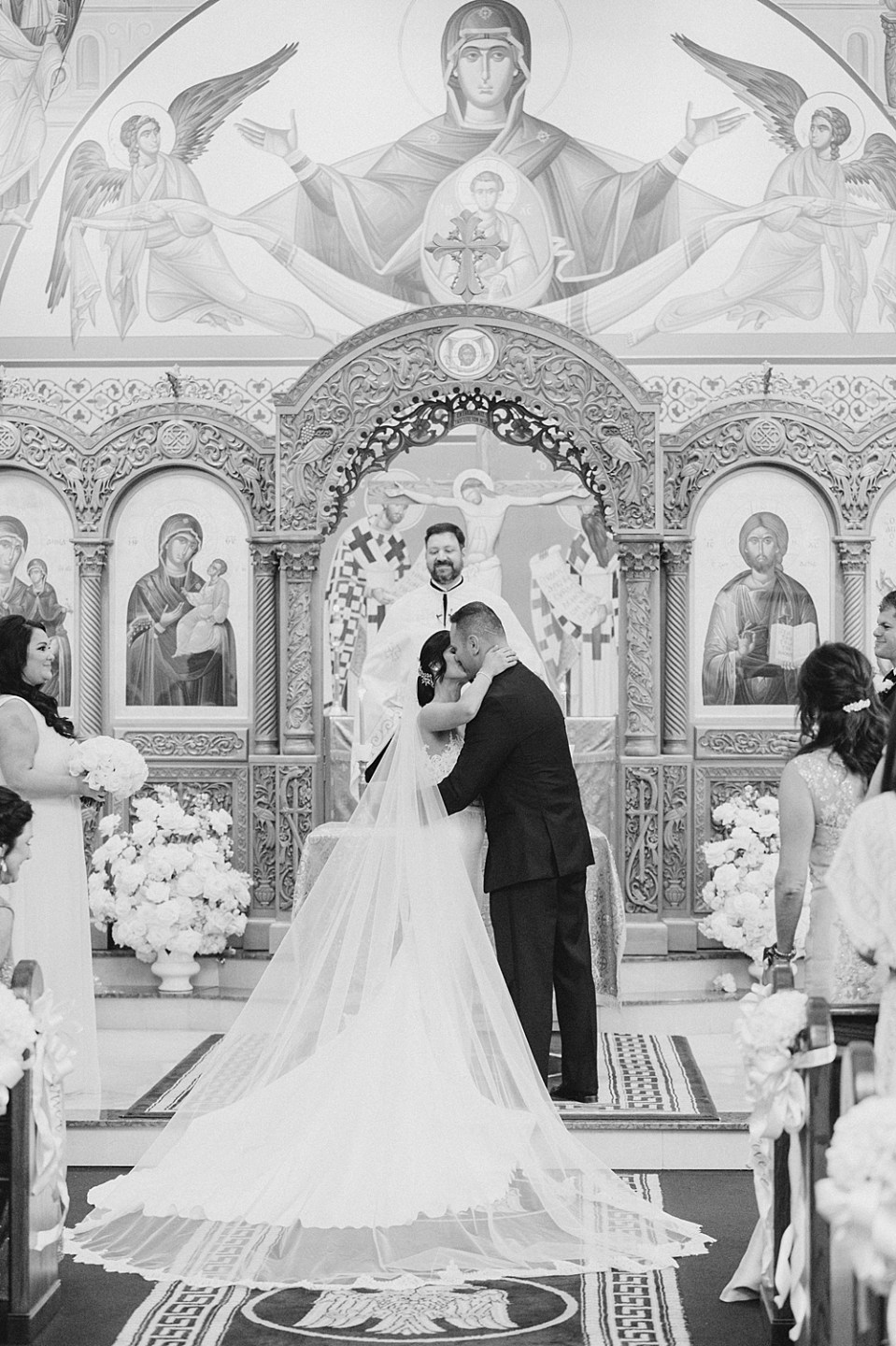 first kiss | greek orthodox wedding ceremony | new jersey wedding photographer sarah canning