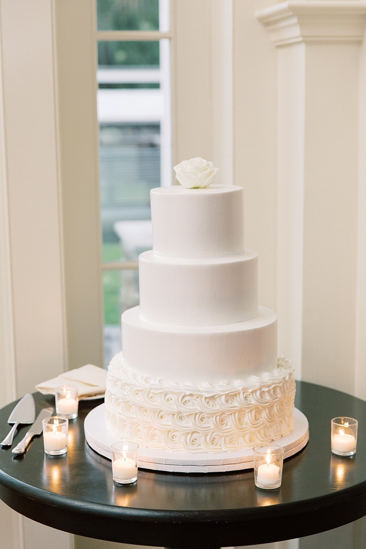 all white layered wedding cake | ryland inn wedding | sarah canning