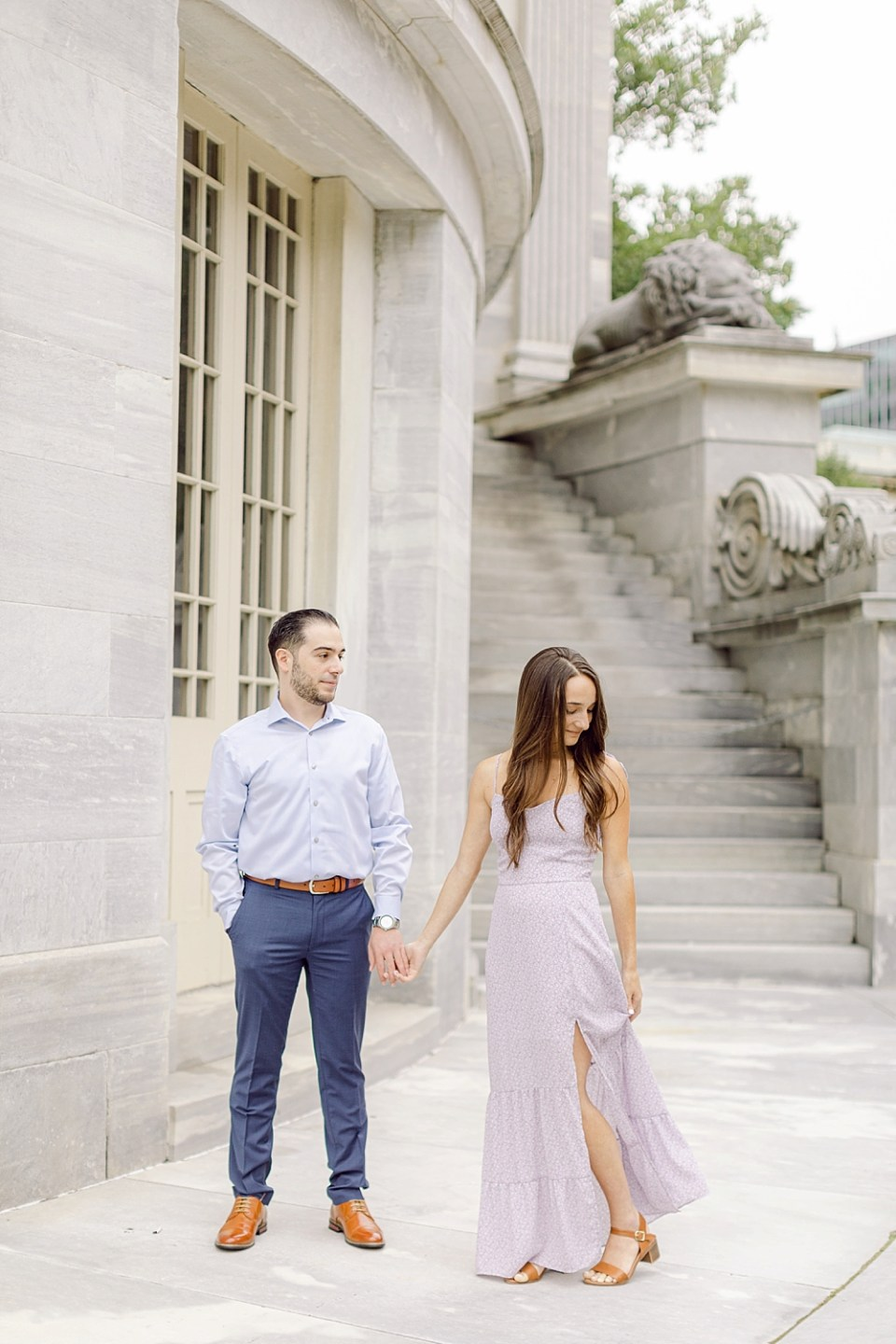 Engagement Photos in Old City Philadelphia at Merchant's Exchange Building
