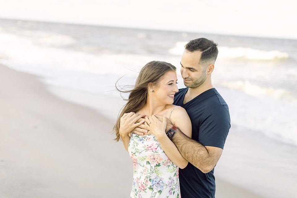 couple on the beach   engagement photos   sarah canning photography