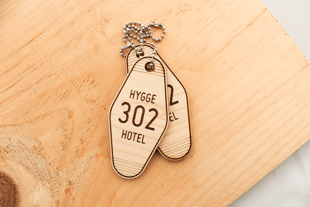 Hotel keytags made with the Glowforge