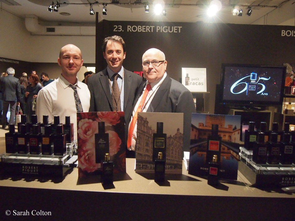 Simon Waddell, UK Brand Manager, Mathieu de Villelongue, Brand Manager France, and Joe Garces, CEO at the  Robert Piguet stand.  'Knightsbridge' the newest Piguet fragrance is available exclusively in Harrod's, London, and was voted 'Fragrance of the show' at Esxence by Mark Behnke, Managing Editor of the perfume blog, Cafleurbon.com.