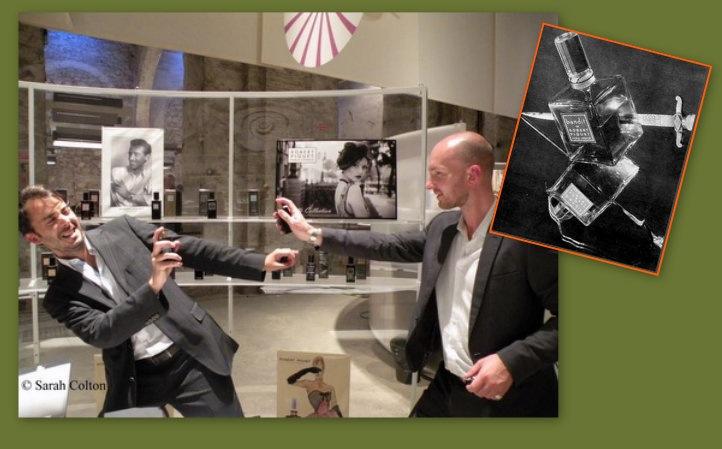 Robert Piguet  bad boy brand managers Mathieu de Villelongue (Left – France) and Simon Waddell (Right – UK) battle it out at the Piguet stand Pitti Fragranze 2013
