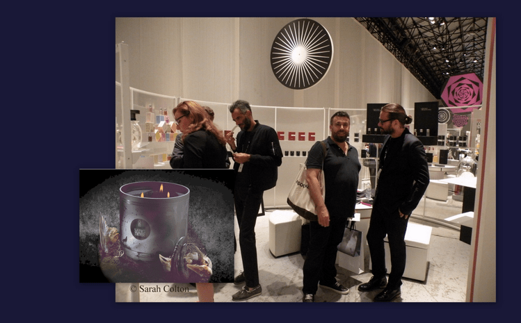 Philippe di Méo (second from left) owner of the brand, Les Liquides Imaginaires (Imaginary Liquids), presented newest fragrance trilogy, 'Les Eaux Sanguines' ('Blood' Alcohols) and candle 'Sang Noir' (Black Blood) at the Différentes Latitudes stand with David Frossard (far right),  Pitti Fragranze 2013