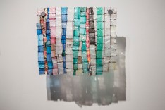 """A.E. Smith, 2013, 12"""" by 12 3:4"""", drug bags, blunt wrappers, thread"""
