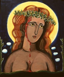 Our Savouress - icon painting for a play by Anna Portch
