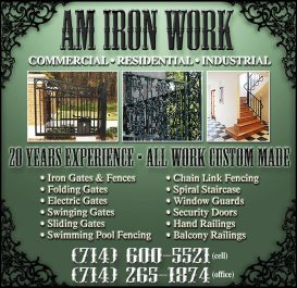 AM Iron Work three-quarter page ad