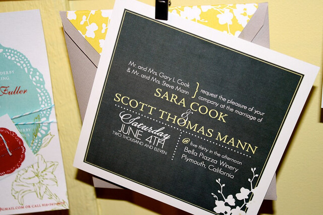 Gray and Yellow Wedding Invitation