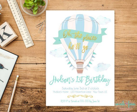 oh the places she ll go hot air balloon birthday invitation green