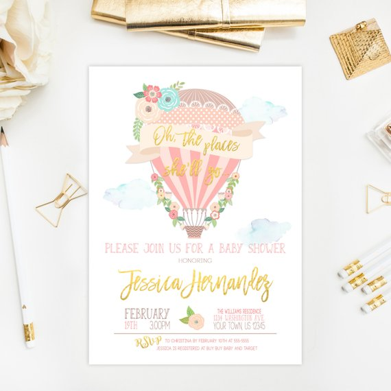Places She Ll Go Baby Shower Invitation