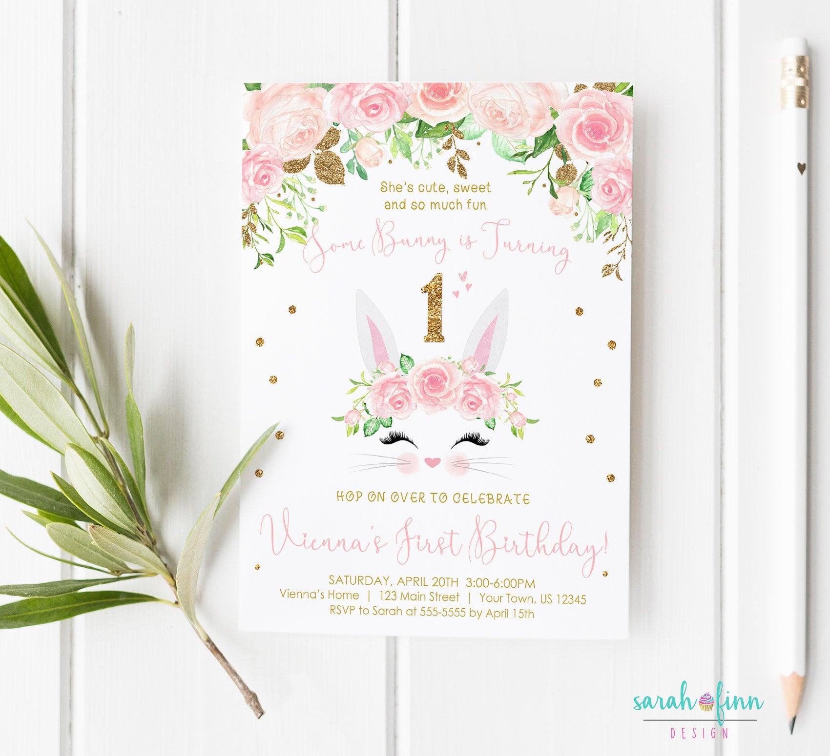 some bunny birthday invitation blush