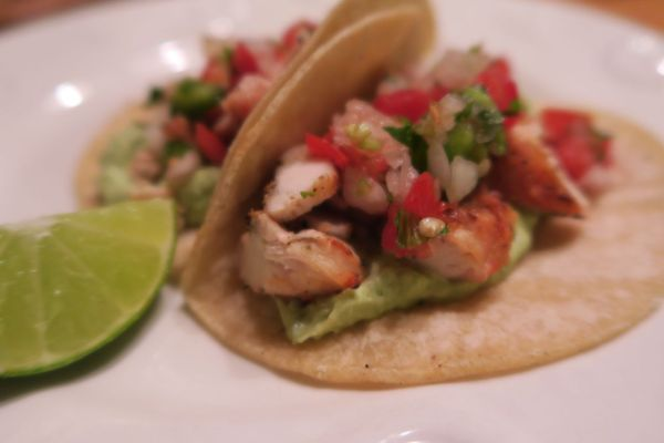 tacos with chicken and avoado and goat cheese