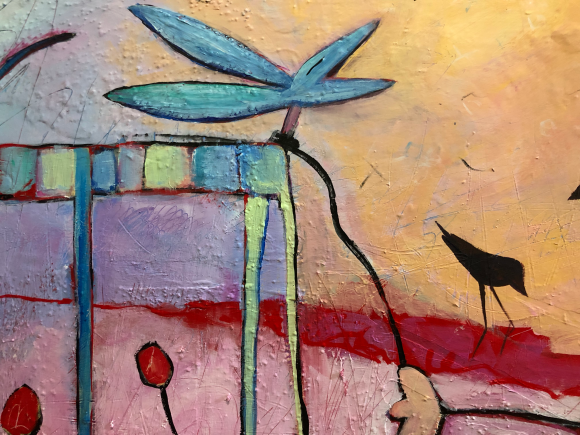 inspired by Edisto Island and its diversified wildlife, this is a photo of an abstract figurative expressionism figurative fine artwork with mark making and mixed media by artist Sarah Gilbert Fox inspired by Edisto Island detail