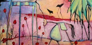 This is a photo of an abstract figurative expressionism figurative fine artwork with mark making and mixed media by artist Sarah Gilbert Fox inspired by Edisto Island
