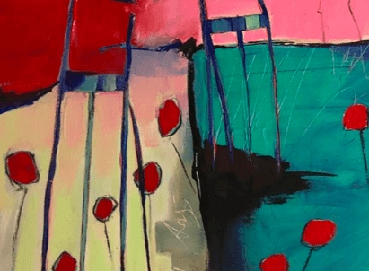 details of the mark making markmaking in the birdie garden - an  contemporary abstract figurative expressionism fine art  a painting by emerging artist sarah gilbert fox
