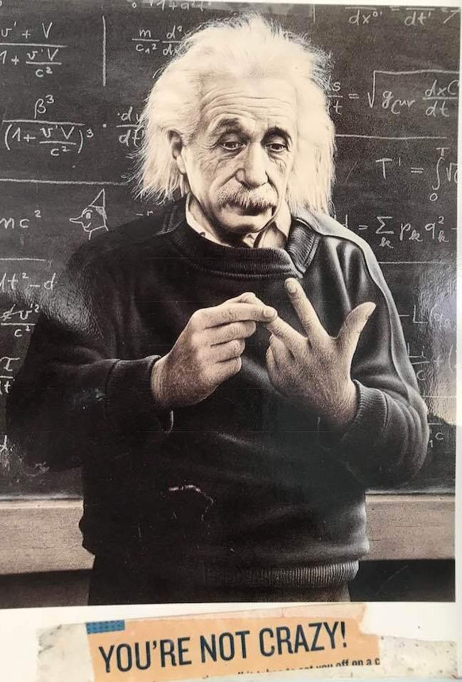 Einstein calculates, You're not crazy!!!