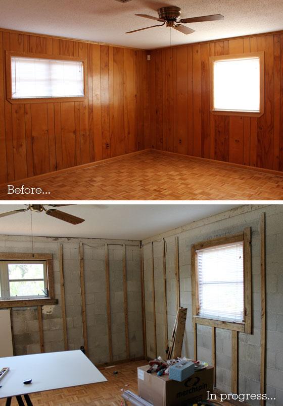 Paneled Family Room: Our Den / Living Room Remodel