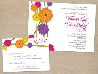 Modern bright daisy wedding invitation and reply card