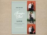 Vintage modern photo wedding save the date card