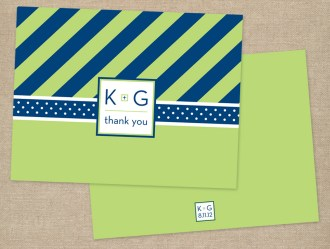 Navy and lime modern wedding thank you card