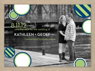 Navy and lime modern photo wedding save the date card