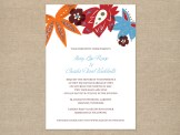 Orange and teal floral wedding invitation