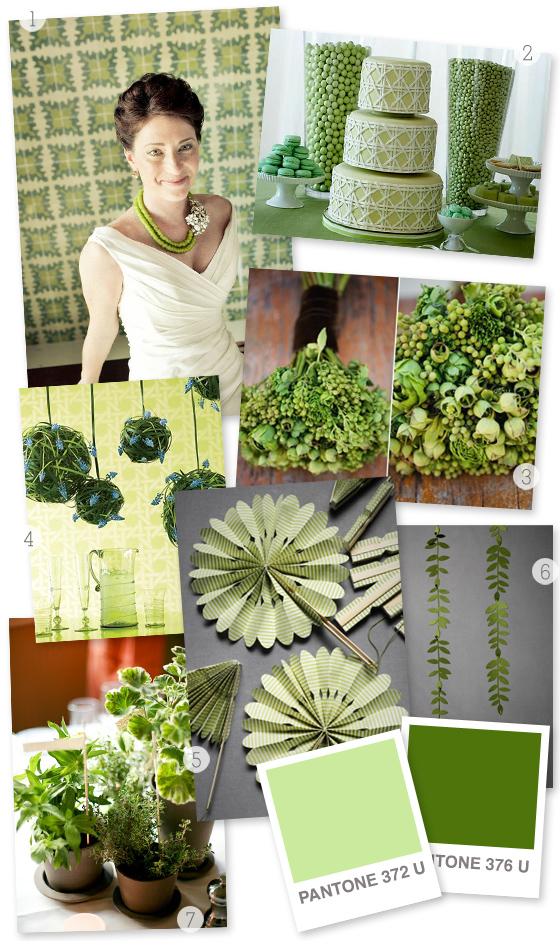 green wedding inspiration board