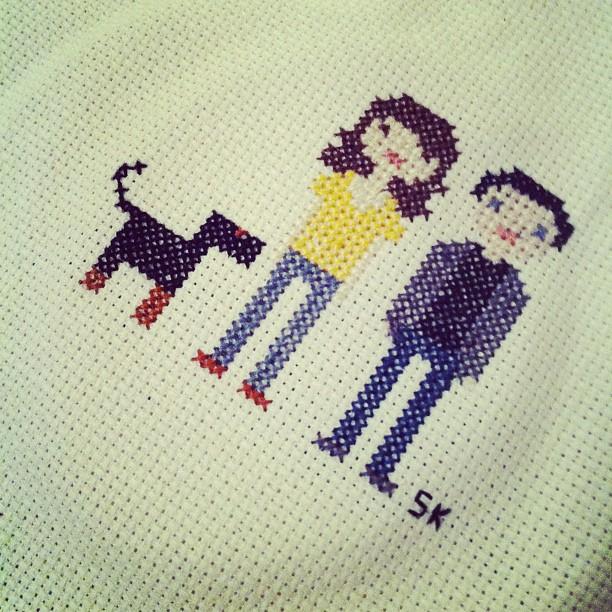 custom couple family pet cross stitch