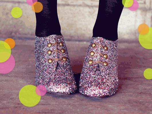 crafternoon rainbow diy glitter shoes