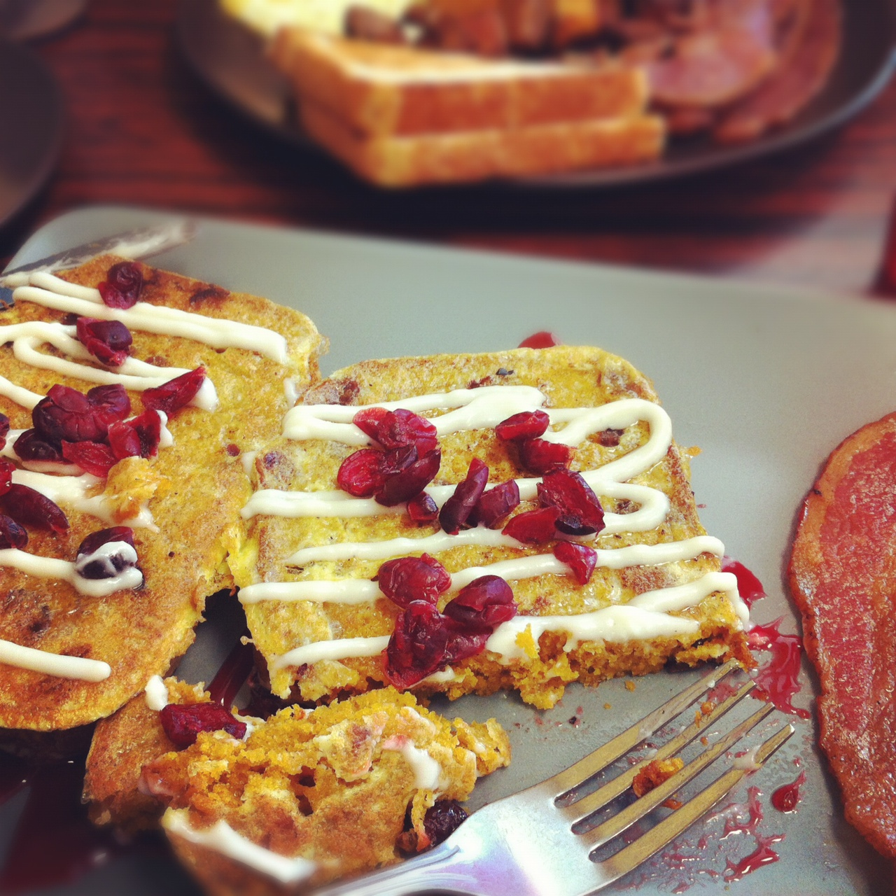 pumpkin bread French toast with cream cheese drizzle