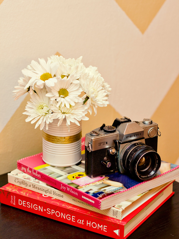 washi tape flower can vases