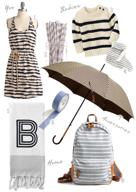 Stripe dress umbrella bag and washi tape
