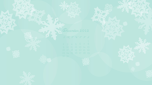 December 2012 Snowflake Calendar Wallpaper from sarahhearts.com