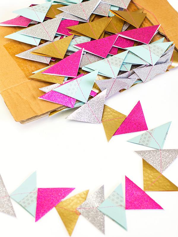 DIY Paper Triangle Garland Christmas Tree Garland