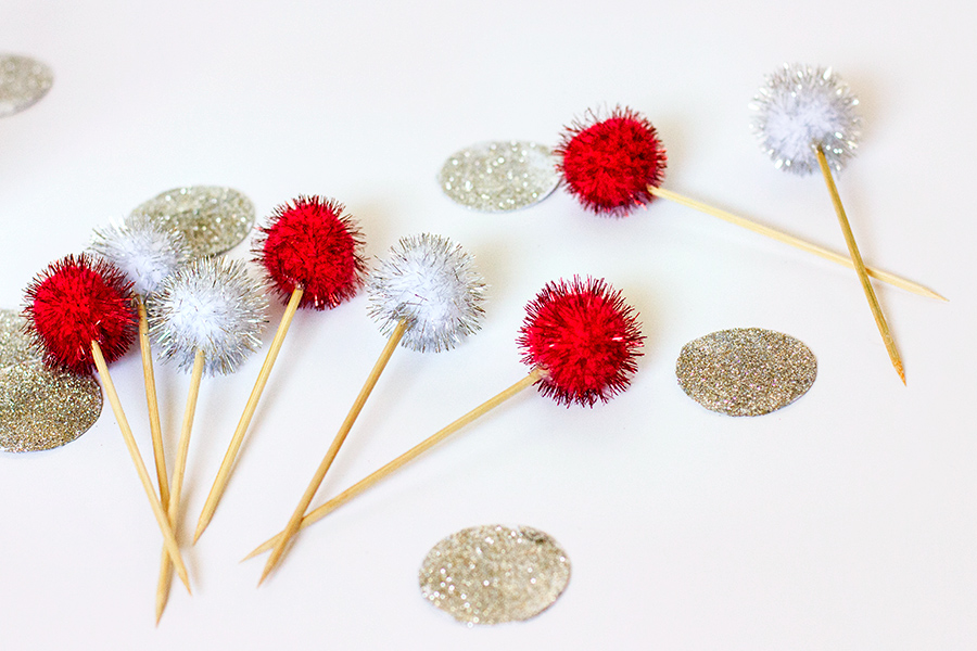 DIY Pom Pom Toothpicks from sarahhearts.com