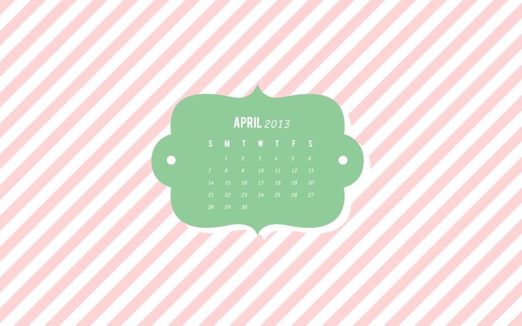 Sarah Hearts | April Calendar Desktop, iPhone, iPad Wallpaper