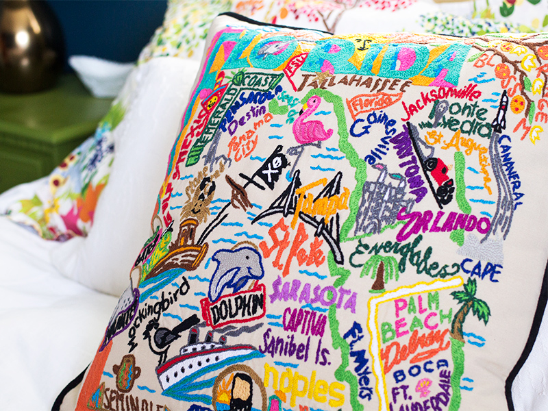 Hand Embroidered State Pillows   Sarah Hearts