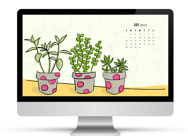 July 2013 Succulent Calendar Wallpaper by Sarah Hearts