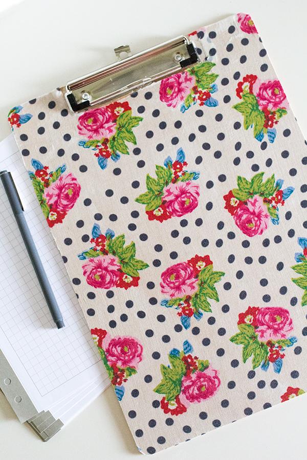 DIY Fabric Covered Clipboard | Sarah Hearts