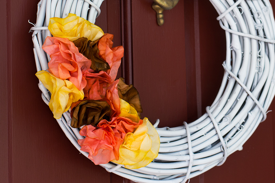 Dyed Coffee Filter Fall Wreath | Sarah Hearts