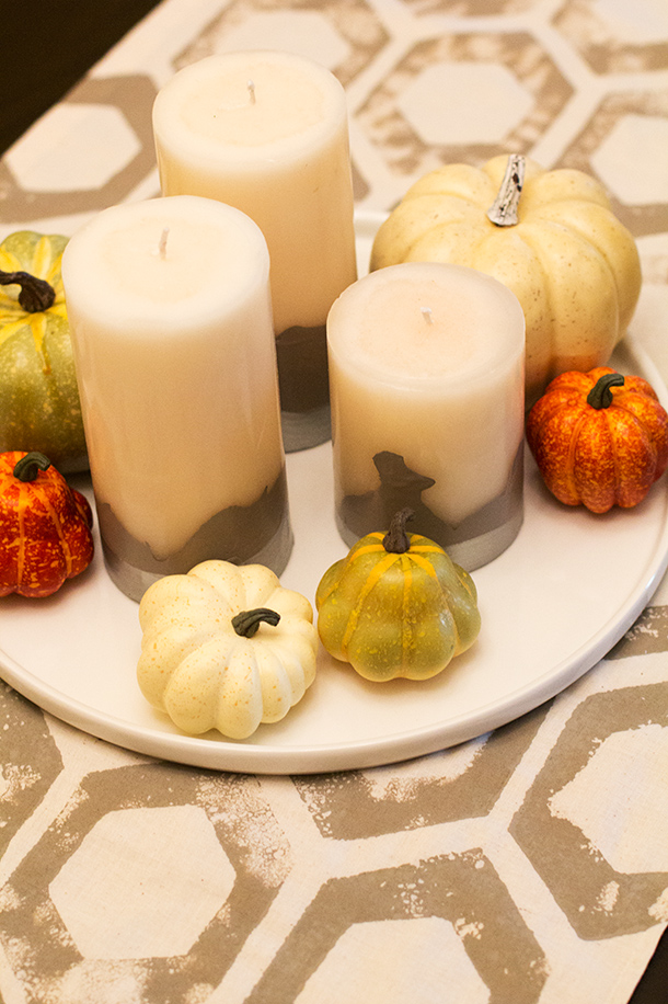 DIY Dipped Candle Fall Centerpiece | Sarah Hearts