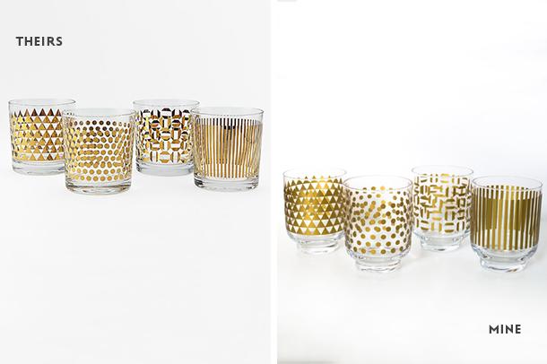 DIY Metallic Print Glassware | Sarah Hearts
