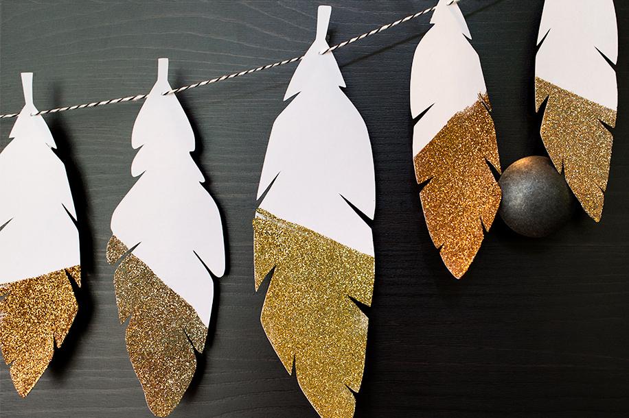 DIY Glitter Feather Garland