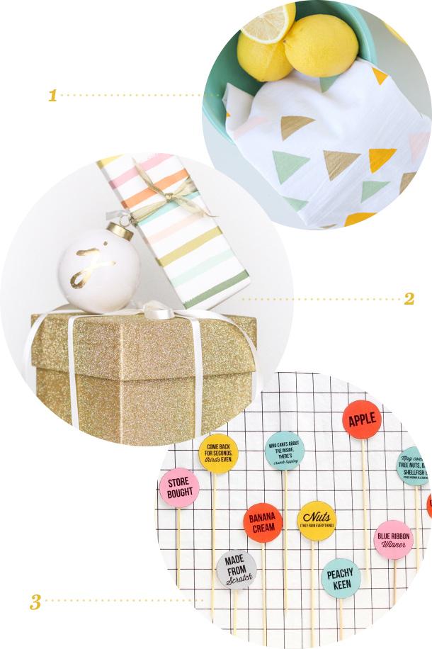 DIY Stenciled Tea Towels, Gold Leaf Monogram Ornaments, and Printable Pie Labels