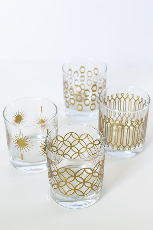 Top 5 DIYs of 2013 | Metallic Gold Barware