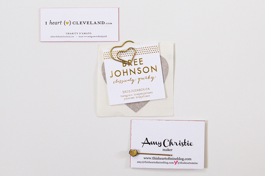Favorite Alt Summit Business Cards with Gold Heart Details